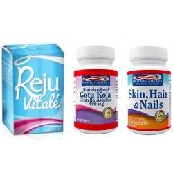 Rejuvitale x 60 Softgels y 50% off en Centella Asiatica 400mg x 100 caps y 60% off en Skin Hair and Nails x 60 Caps