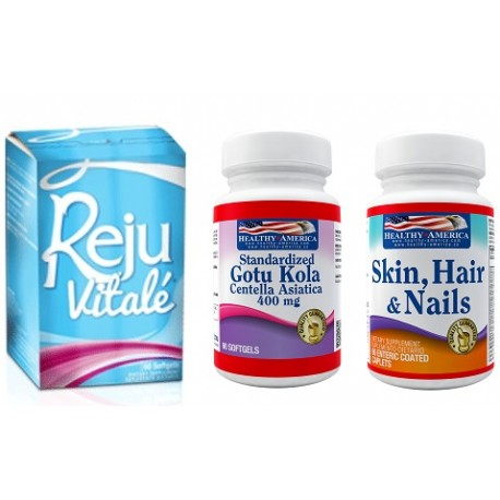Rejuvitale x 60 Softgels y 50% off en Centella Asiatica 400mg x 100 caps y 60% off en Skin Hair and Nails x 60 Caps